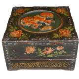 Original Chinese Square Storage Wood Box with Carvings