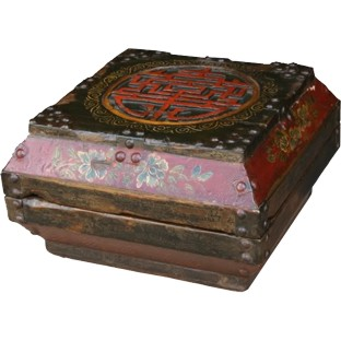 Chinese Antique Wood Box with Carvings