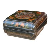 Antique Chinese Square Carved Wood Box