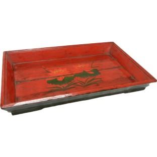 Original Rectangular Red Painted Tray