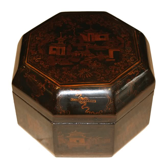 Octagon Chinese Box Black Lacquer