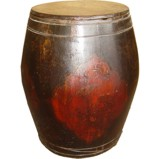 Original Painted Round Wood Box with Lid