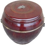 Maroon Original Round Wood Box with Lid