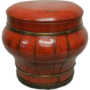Red Lacquer Rice Container with Lid