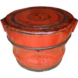 Original Red Wood Barrel with Lid