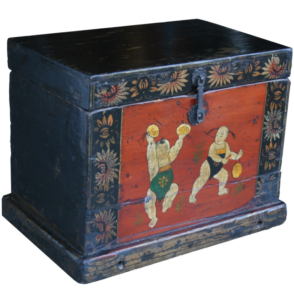Chinese Chest Small With People Paintings