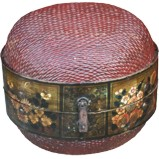 Original Round Woven Storage Basket w/ Painted Wooden Frame