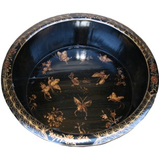 Black Butterflies Painted Wood Water Basin with Stands