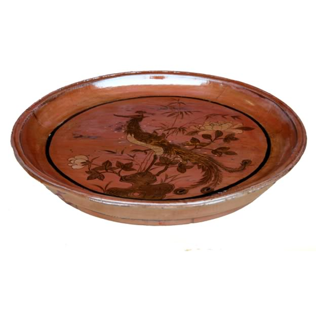 Wood Tray With Painting Round