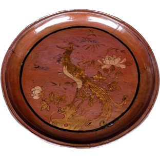Antique Round Wood Tray with Painting