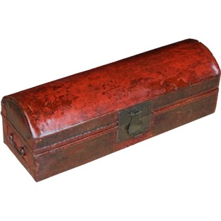 Antique Red Painted Leather Box