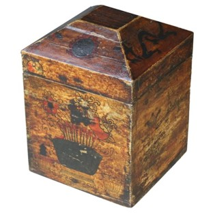 Antique Genuine Leather Painted Box