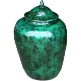Green Decorative Ginger Jar with Lid
