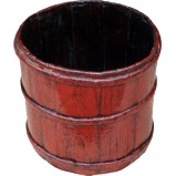 Antique Chinese Red Rice Bucket
