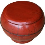 Antique Red Round Wood Lunch Box with Handle