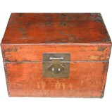 Original Red Storage Box with Gold Painting