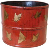Red Chinese Wood Bucket with Gold Butterflies Painting