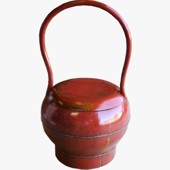Antique Red Round Wood Storage Box with Handle