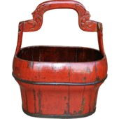 Red Chinese Water Bucket with Handle