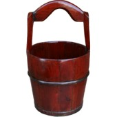 Brown Chinese Water Bucket with Handle