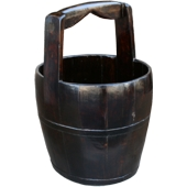 Large Round Chinese Water Bucket with Wide Handle