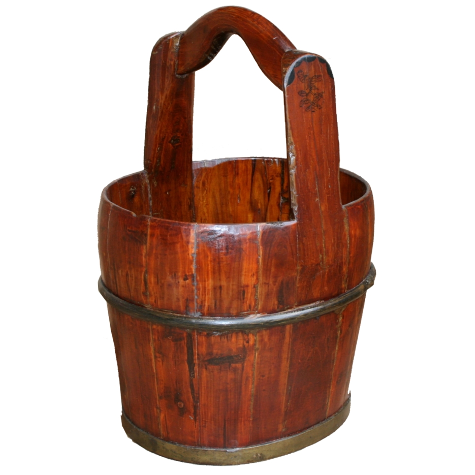 Antique Wooden Water Bucket W Beautiful Colour AND Grain ...