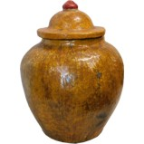 Yellow Decorative Ginger Jar with Lid