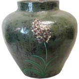 Green Flora Painted Ginger Jar