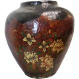 Brown Flora Painted Ginger Jar