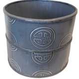 Grey Chinese Wood Bucket Large