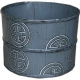 Grey Chinese Wood Bucket with Painting