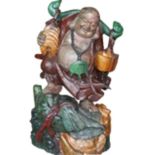 Wood Buddha Maitreya Treasure Carrying