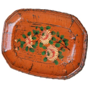 Orange Wood Display Plate with Painting