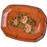 Orange Wood Display Plate with Painting
