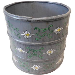 Grey Chinese Wood Bucket with Flora Painting