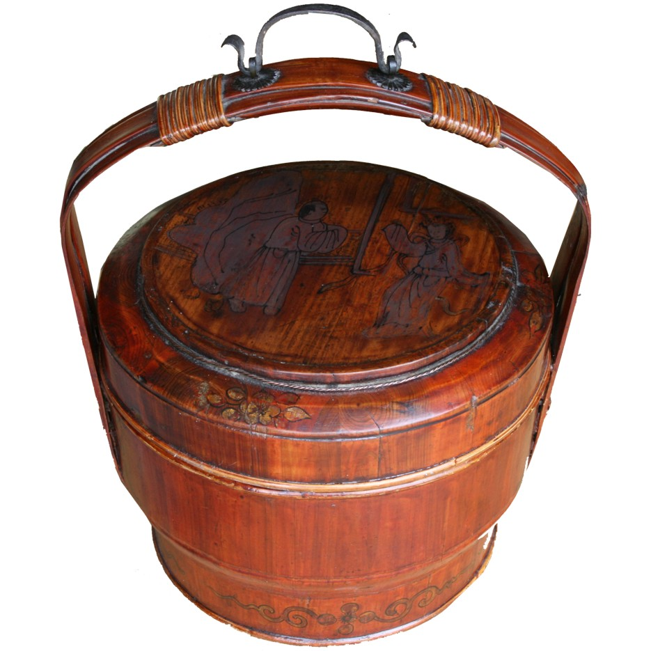 Chinese Antique Wood Carrying Basket Lunch Box Painted