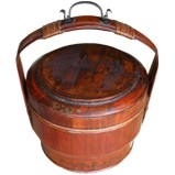 Antique Wood Carrying Basket /Lunch Box w Painting