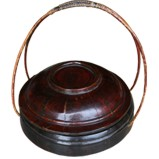 Gold Painted Wood Basket