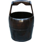 Large Round Chinese Pail with Wide Handle