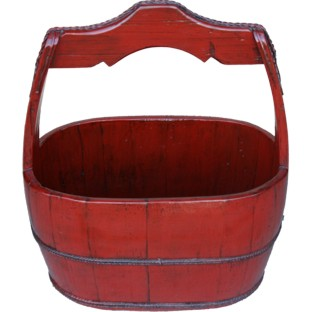 Large Red Chinese Pail with Handle