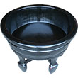 Black Lacquer Wood Water Basin with Stands