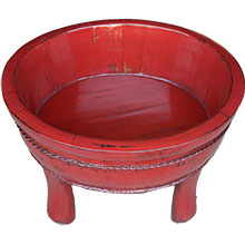 Red Lacquer Wood Water Basin with Stands