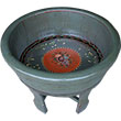 Grey Lacquer Painted Wood Water Basin with Stands