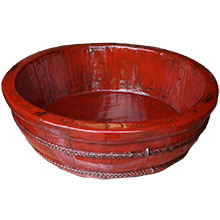 Red Lacquer Wood Water Basin