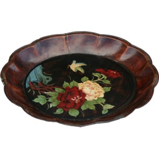 Brown Flower Painted Plate