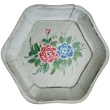 Hexagon Flora Painted Plate