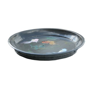 Grey Koi Fish Painted Plate