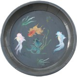 Grey Koi Fish Painted Plate