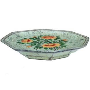 Green Octagon Painted Plate