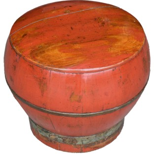 Red Lacquer Round Wood Box